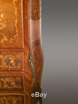 Secrétaire Napoléon III marqueté bronzes dorés