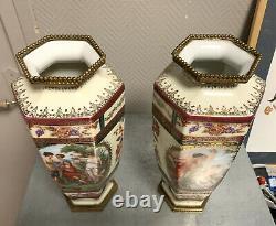 Sèvres 1861 paire de vases en porcelaine et bronze doré marqués sous le talon