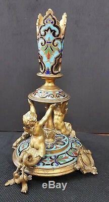 Statue soliflore bronze putti ailés poisson soliflore XIX cloisonné napoléon