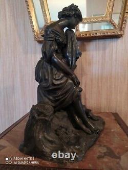 Statuette Bronze Femme Drapée à la Cruche sur un Tertre XIXème