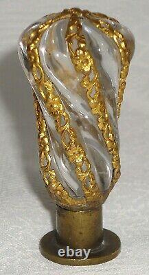 Superbe Ancien Sceau Cachet Cristal Et Bronze Sertissage Bronze Doré