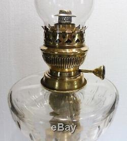 Superbe GRANDE LAMPE À PÉTROLE XIXeme bronze cristal brûleur MATADOR