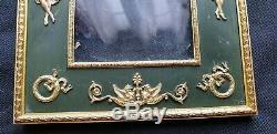 Superbe Grand Cadre Photo Bronze Dore Fond Vert Neoclassique Ep. Napoleon III