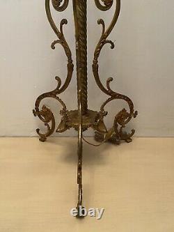 Superbe Lampadaire Tripode Cristal, Bronze, Laiton, Napoléon III