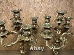 Superbe Paire Candelabres Bronze Rocaille, Style Louis Xv, Epoque Napoleon III
