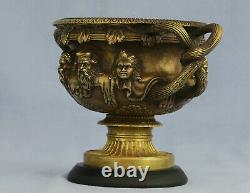 Superbe Vase Warwick en Bronze Ciselé et Doré du XIXème Siècle