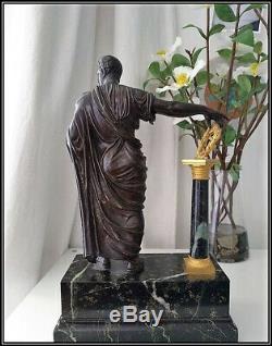 Superbe ancien Bronze Napoléon III Jules César, non pendule Empire, clock