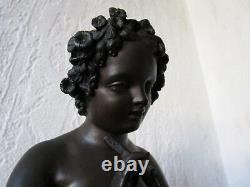 Superbe bronze XIXe signé, Amour aux colombes enfant oiseaux sculpture ancienne