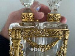 Superbe cave à parfum-4 flacons Napoléon III XIXeme bronze, CRISTAL BACCARAT