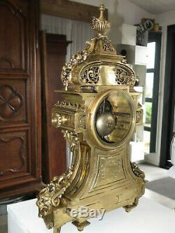Superbe horloge bronze doré Napoléon III antique clock pendule XIX siecle