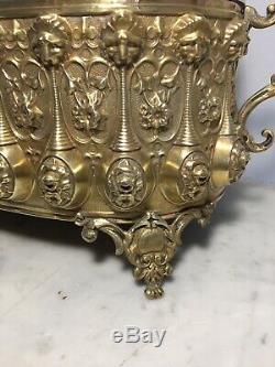 Superbe jardinière centre de table Laiton et bronze dorés NAPOLEON III XIXe 19TH