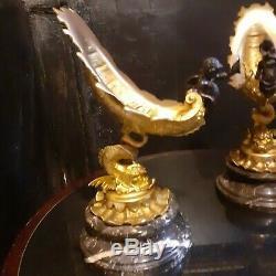 Superbe paire coupe en bronze doré style Napoléon III