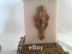 Superbe paire de cassolettes marbre blanc et bronze doré XIXème napoleon III