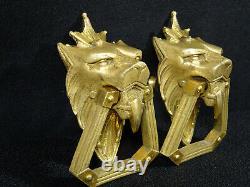 Superbe paire de poignées bronze fauve lion Napoléon III pendant, XIXéme