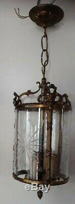 Suspension Lustre Lanterne Bronze & Verre Grave Napoleon III