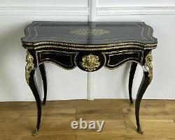 Table A Jeux / Console Epoque Napoleon III En Bois Noirci Ornée De Bronze Doré