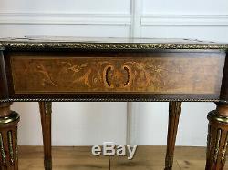 Table De Salon Epoque Napoleon III En Marqueterie Toutes Faces Ornée De Bronze