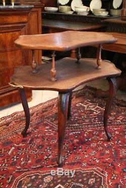 Table à thé en palissandre deux niveaux poignées bronze 19e Napoléon 3