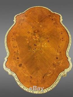 Table de milieu guéridon Napoléon III marqueterie bronze doré