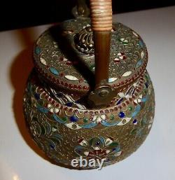 Théière émaux cloisonnés bronze embouti XIXe Russie Ottoman