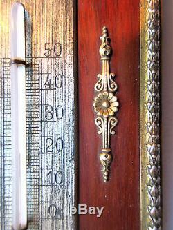 Thermomètre Napoléon III, Guirlande de roses, Noeud Louis XVI bronze sur acajou