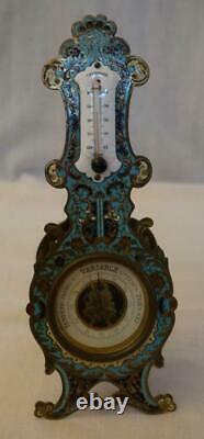 Thermomètre baromètre en bronze et émaux cloisonnés dépoque Napoléon III