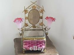 Tres Jolie Coffret A Bijoux Bronze Napoleon III / Jewellery Box Globe De Mariee