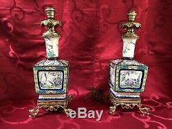Très Jolie Paire De Lampes En Faïence Émaillée Montées Sur Bronze