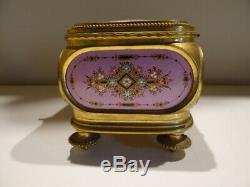 Très Rare Coffret Capitonné en Emaux Bressans Roses et Bronze Doré Napoléon III