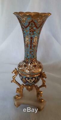 Très beau vase en bronze et émaux cloisonnés, époque Napoléon III