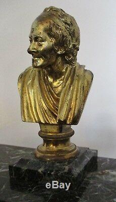 Très grand ENCRIER MARBRE VERT BRONZE Buste de Voltaire NAPOLÉON III INKWELL