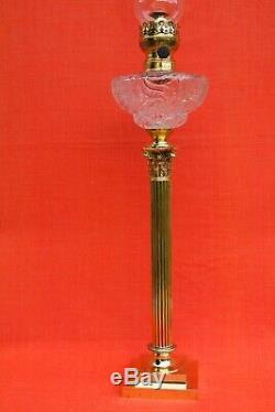 Très grande lampe à pétrole 19 ème en Bronze et cristal Baccarat