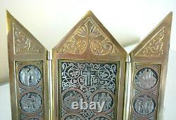 Triptyque Devotion, Bronze Ancien, 14 Stations Du Christ, Chemin De Croix Xixeme