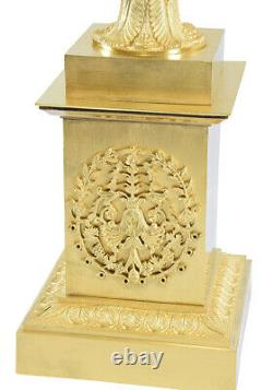 VASE EMPIRE Kaminuhr Empire clock bronze horloge antique cartel pendule bougeoir