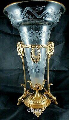 Vase antique Cornet cristal et bronze doré circa 1860