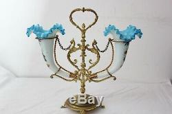Vases opaline émaillés pique fleurs bronze Napoléon III vers 1880-1900