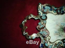 Vide Poche En Bronze Cloisonne Et Porcelaine Peinte Napoléon III Xix°