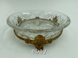 Vide Poche En Cristal Aille Support En Bronze Dore Napoleon III XIX Eme H2570