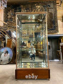 Vitrine D'exposition D'époque Napoléon III En Laiton Et Bronze Signée Siegel