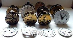 XIXè S, LOT de 8 MOUVEMENTS Horloge Pendule à réparer ou pour pièces détachées