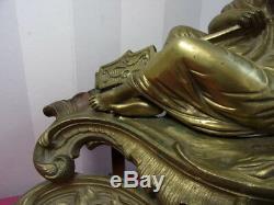 XIXe STATUETTE FEMME en bronze doré 46 cm superbe